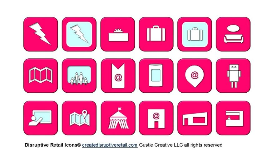 Disruptive Retail Icons, Create Disruptive Retail, Gustie Creative LLC all rights reserved