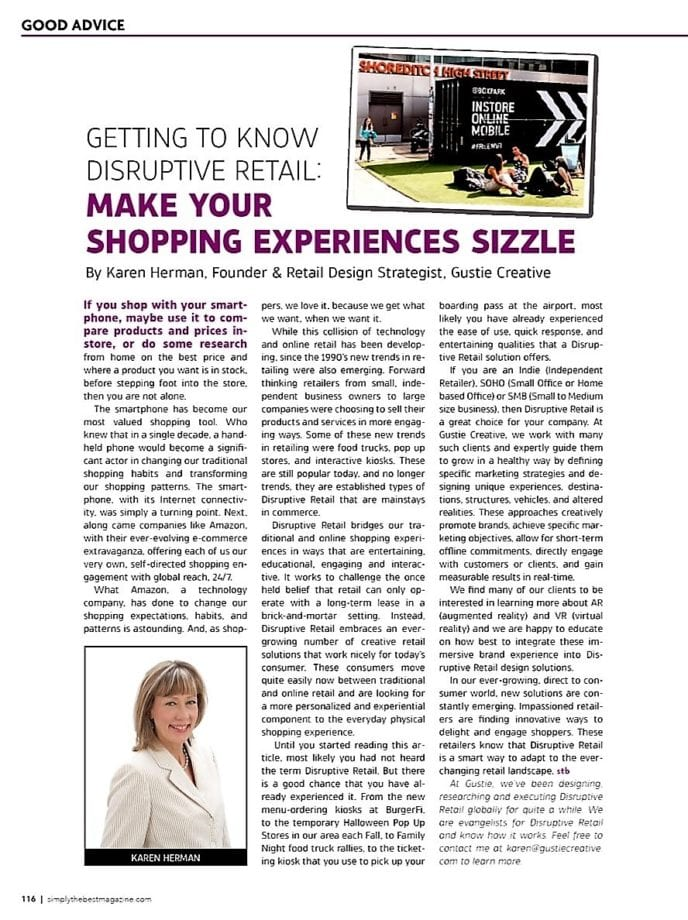Gustie Creative, Karen Herman Article on Disruptive Retail for Simply the Best Magazine