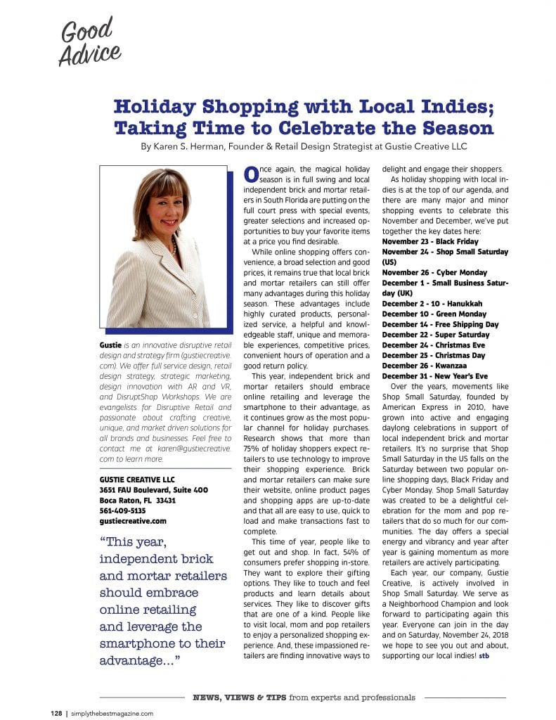 Holiday Shopping with Local Indies; Taking Time to Celebrate the Season, Karen. S. Herman, Gustie Creative LLC Nov-Dec 2018