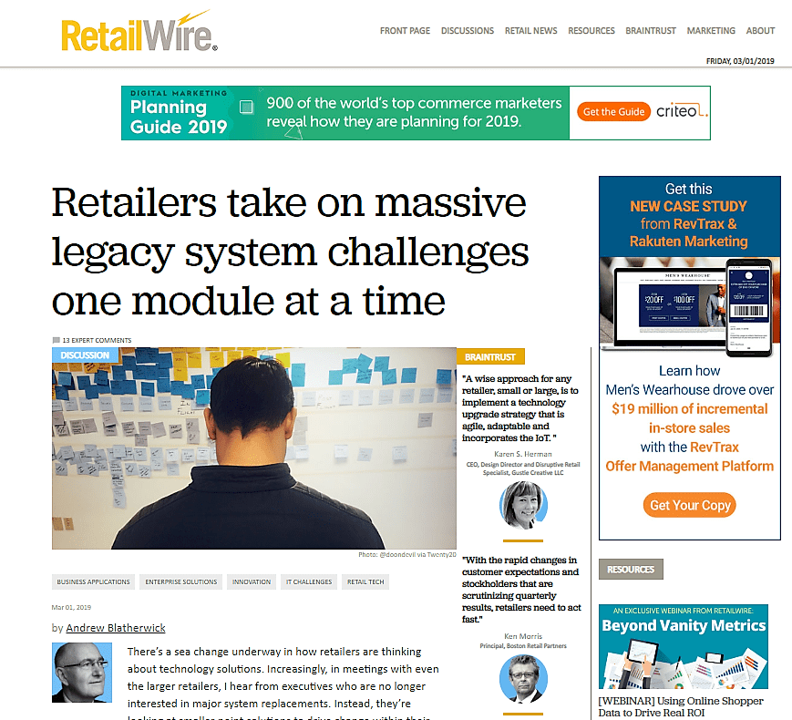 RetailWire Retailers Take On Massive Legacy Systems